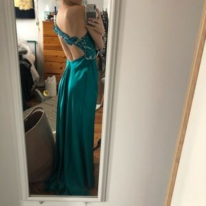 La Femme Turquoise Silk Evening/Prom Gown